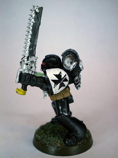 Black templar Initiate with chainsword and plasma pistol